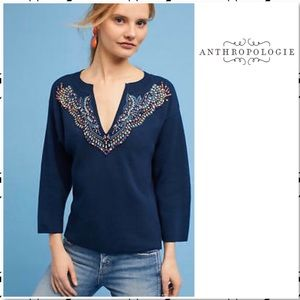 Anthro Rhinestone Jewel V Neck Boxy Sweater Moth